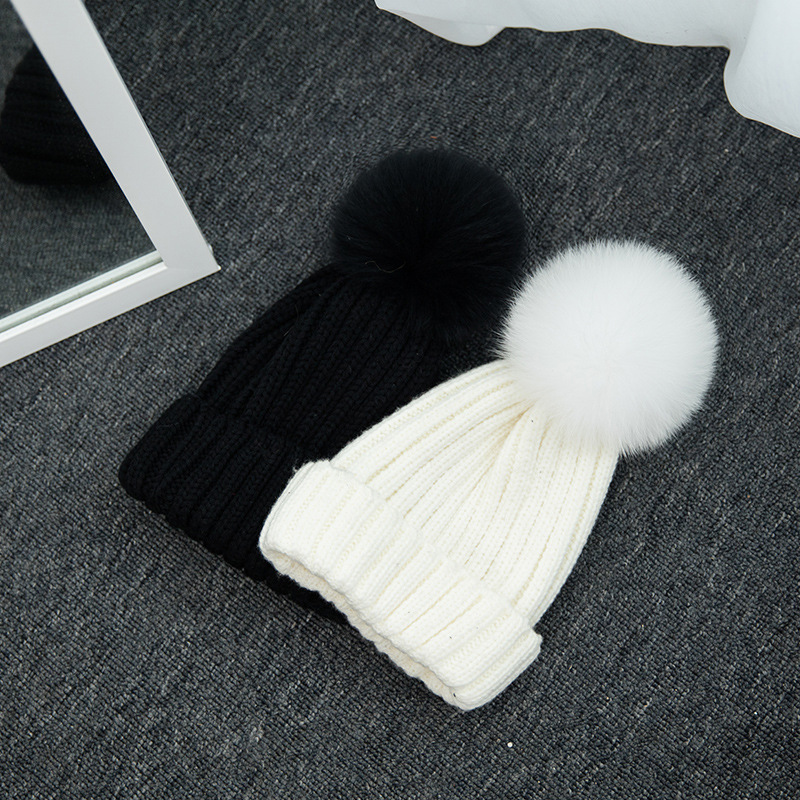 1Pcs Winter Fur Hats For Adult And Kids Knitted Warm Caps Casual Cap With Fur Pompom Pure Colors Ski Caps   Skullies     Beanie   Bonnet