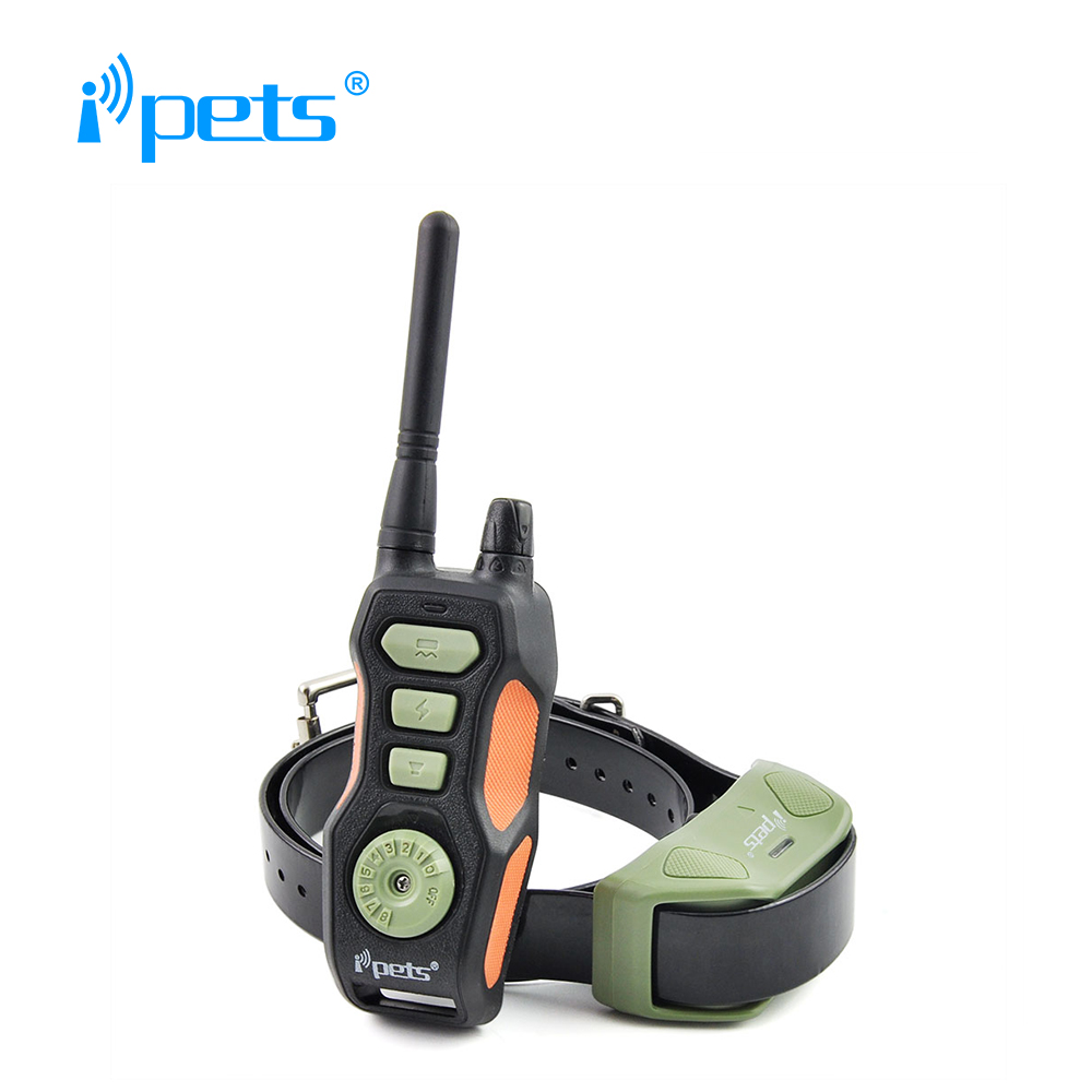 Ipets 618 1 Rechargeable and waterproof dog bark collar training collar shock collar with 800 range