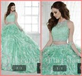 Mujeres del vestido 2015 de dos piezas de vestido de quinceañera balón vestido moldeado cristalino del cordón rizó princesa verde 15 year chica quinceañera vestido