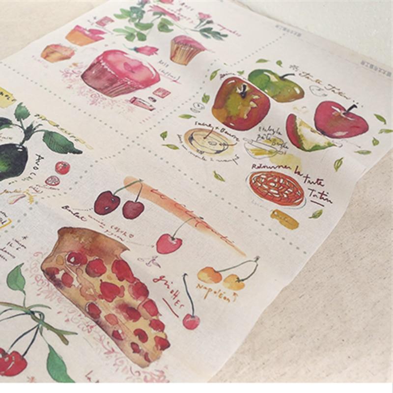 2016new 50*120 Cm Fruit Serie Pure Natuurlijke Linenfabric Diy Handgemaakte Quilt Linnen Tassen Kussen Afdrukken Positie Linnen Doek