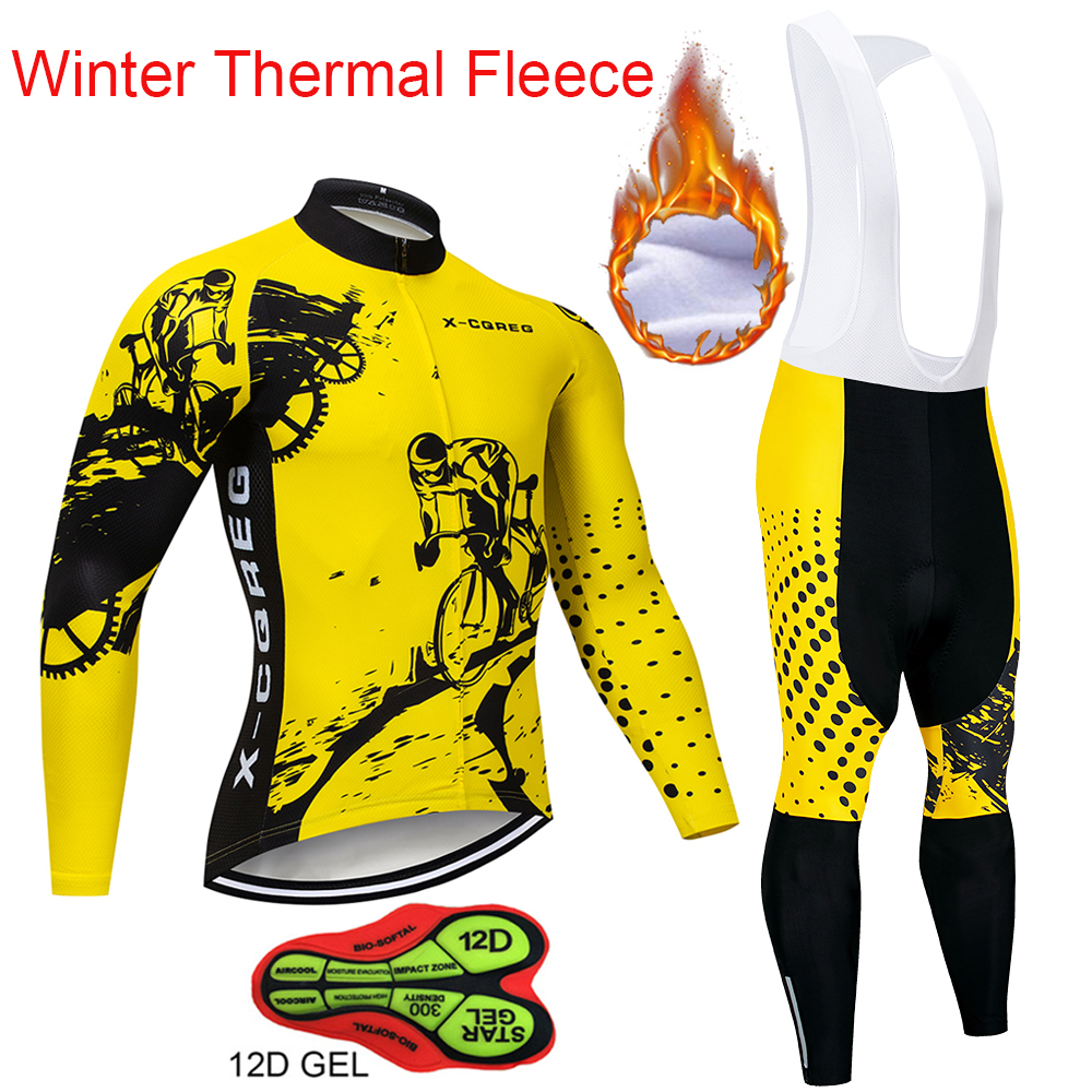 Winter Thermal Fleece X-CQREG Cycling Jersey Long Sleeve 12D GEL Pad Pants Ropa ciclismo Bicycle Bike Clothing Maillot Ciclismo цена