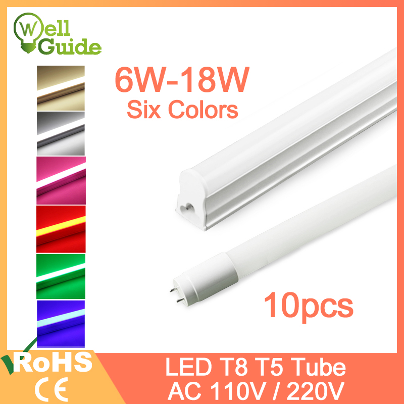10pcs LED Tube T5 Lamp LED Integrated Tube T8 6W 10W 18W AC 110V 220V 30cm 60cm 120cm 1FT 2FT LED Fluorescent Lamp Ampoule