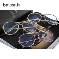 Luxury Decorative Rhinestone Sunglasses Women Brand Designer Points Sun Glasses Vintage Clear Aviator Sunglass Againt Ray