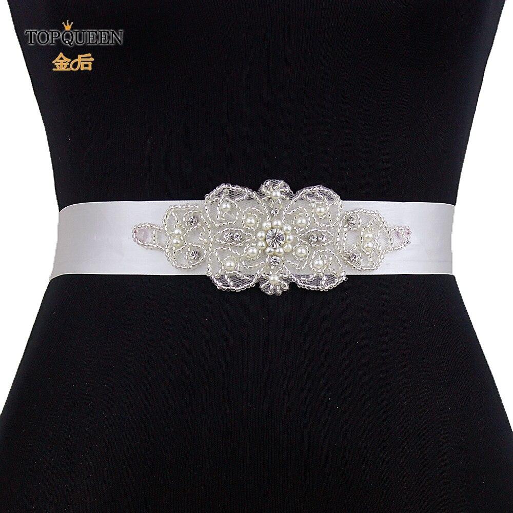 Topqueen S140 Bridal Belt For Wedding Dress Rhinestones Pearl
