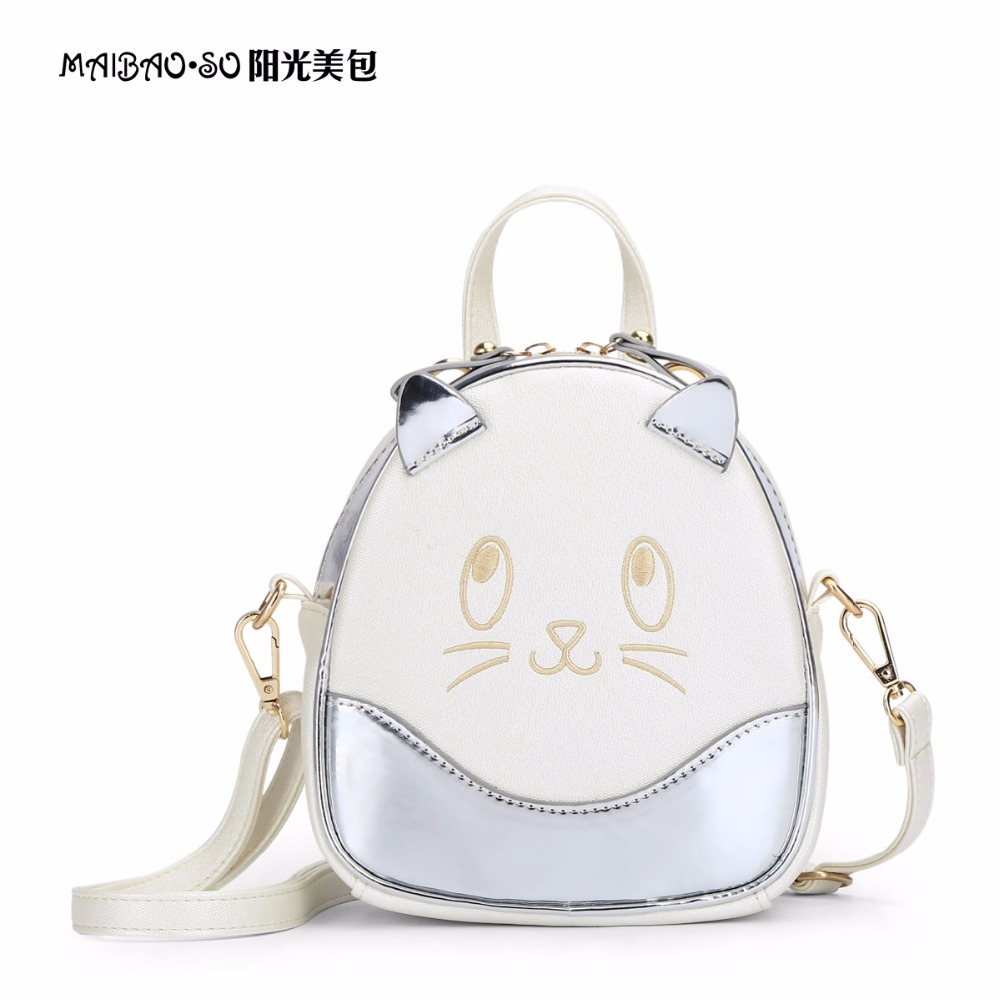 Cute Cat Ears Women Backpack Rainbow Colorful Hologram Backpacks Laser Silver Holographic Mirror Mini Shoulder Bags