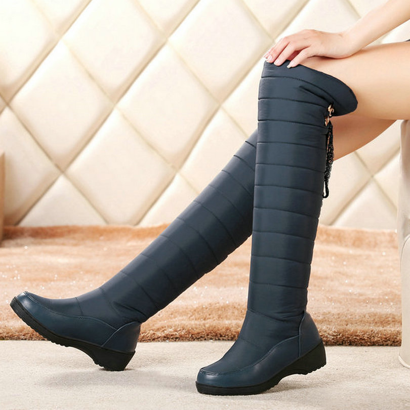 Blue Round Toe Winter 2016 Knee High Boots PU leather Wedge Med Heel Women Shoes Boots Black Snow Boots size 34-43 vinlle 2017 women pumps college style square med heel vintage slip on pu leather shoes casual round toe girl shoes size 34 40