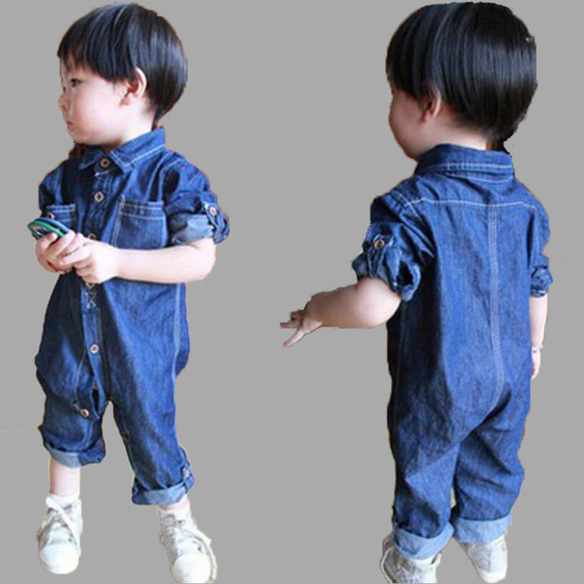newborn baby rompers 2016 new spring summer boy girl jumpsuit denim long sleeve turn-down collar baby body suit one-piece