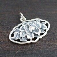 وانغ yinshi s990 غرامة الفضة الغزلان العتيقة نمط الفاوانيا زهرة جوفاء قلادة قلادة الإناث نماذج بسيطة
