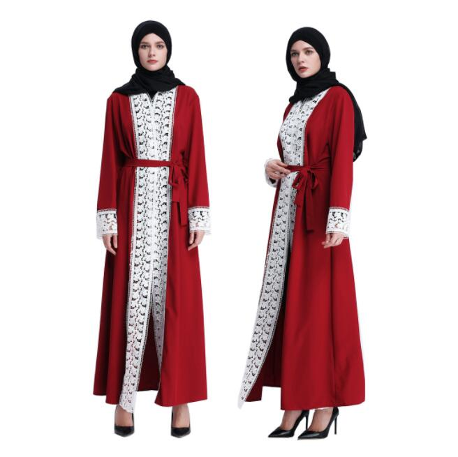 Robe élégante en dentelle pour femmes Abaya ouverte, grande taille, robe ample, caftan musulman adulte, vêtements Jilbab