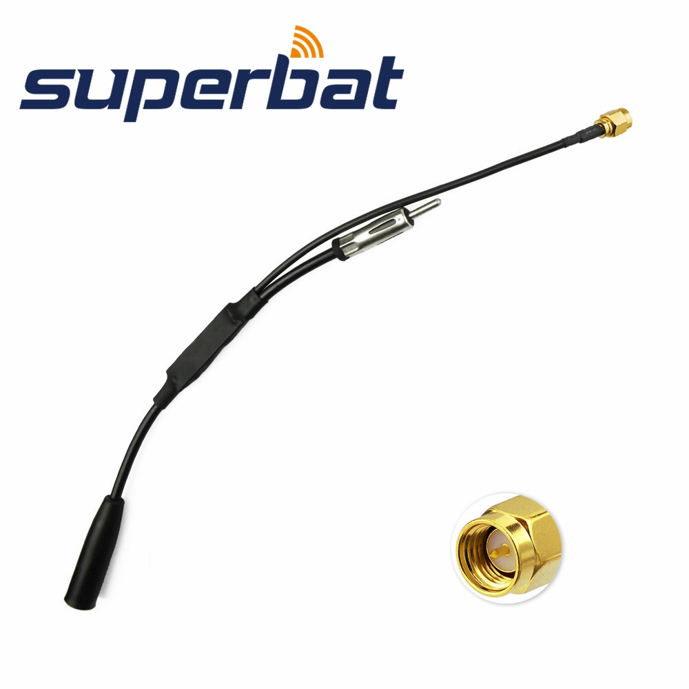 Superbat DAB DAB + Antenna Aerial Splitter Amplifier Adapter Cable SMA Male Plug Connector For Car Pionner Kenwood Radio Active