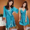 Free Shipping Sexy temptation cattiness silk robe nightgown twinset sleepwear spring and autumn homewear