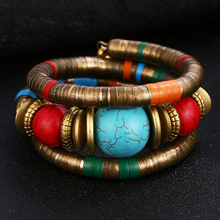 HOCOLE 2019 New Fashion Natural Stone Colorful Snake Bangle Bracelets For Women Vintage Multilayer Metal Bracelet Jewelry Indian