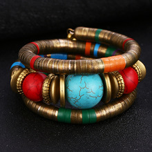 ¡Novedad de 2019! brazalete de serpiente colorido de piedra Natural de HOCOLE, pulseras para mujer, pulsera de Metal multicapa vintage, joyería India