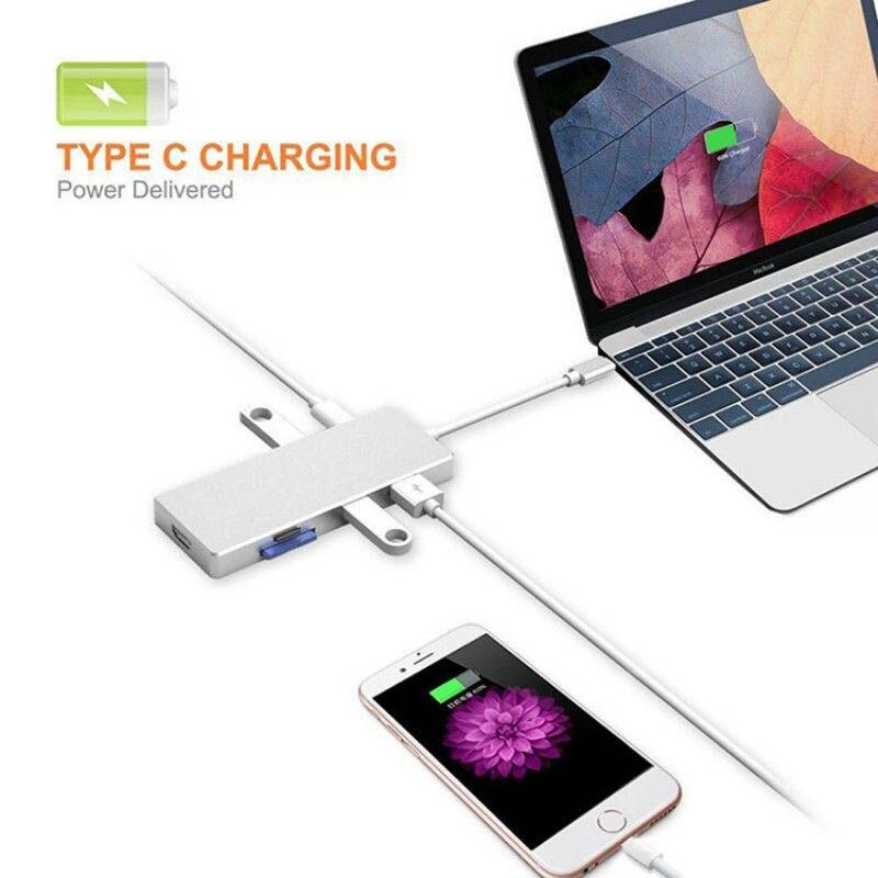 Multi-fonction 4 K Ultra HD sortie vidéo 3 Ports USB 3.0 HUB Type-C À HDMI TF lecteur de carte sd pour Macbook Pro PC ND998
