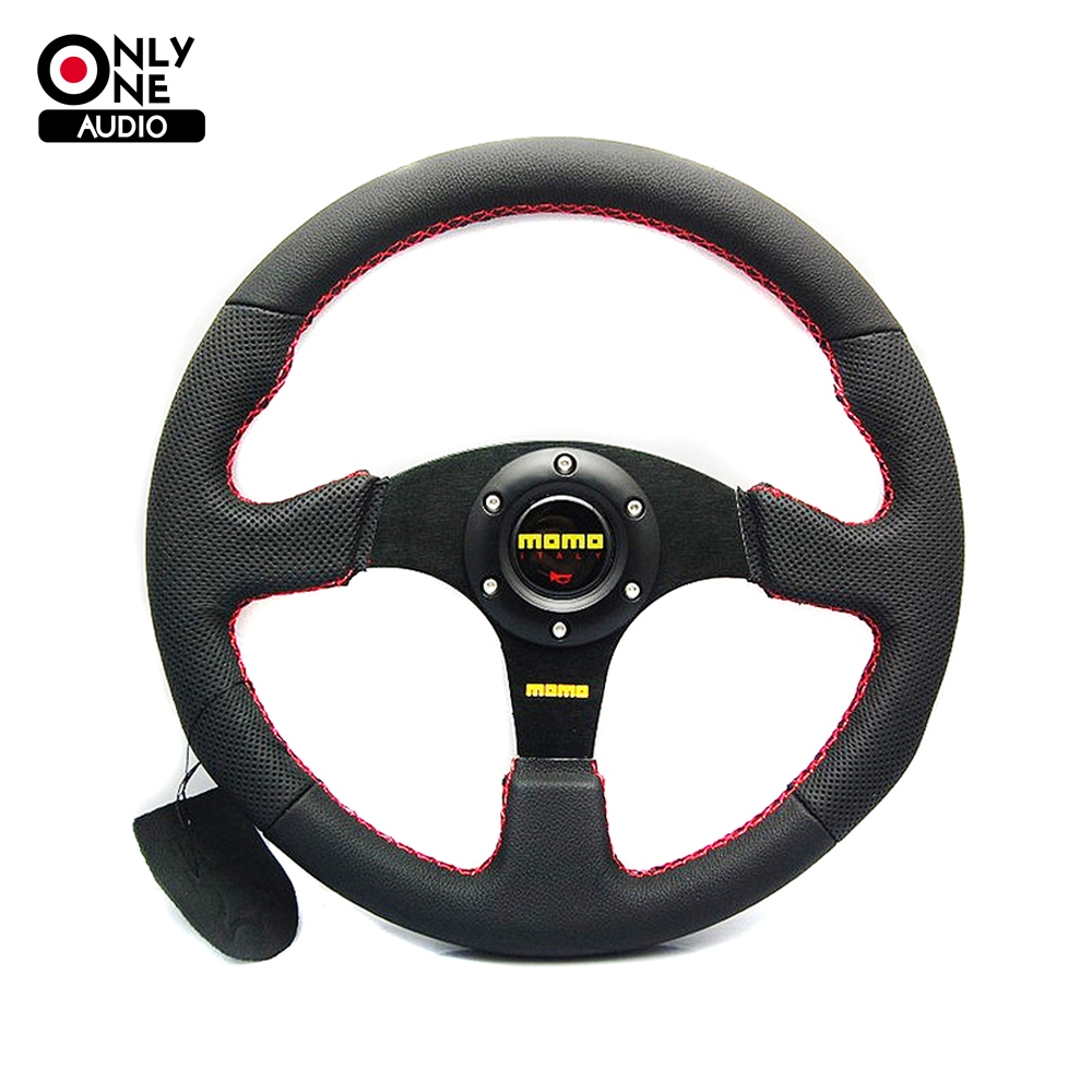 only one audio Universal 350mm 14 Inch Car Auto Momo Modified Genuine Leather Automobile Race Steering Wheel with Horn Button tony moly маска для лица pureness 100 green tea mask sheet