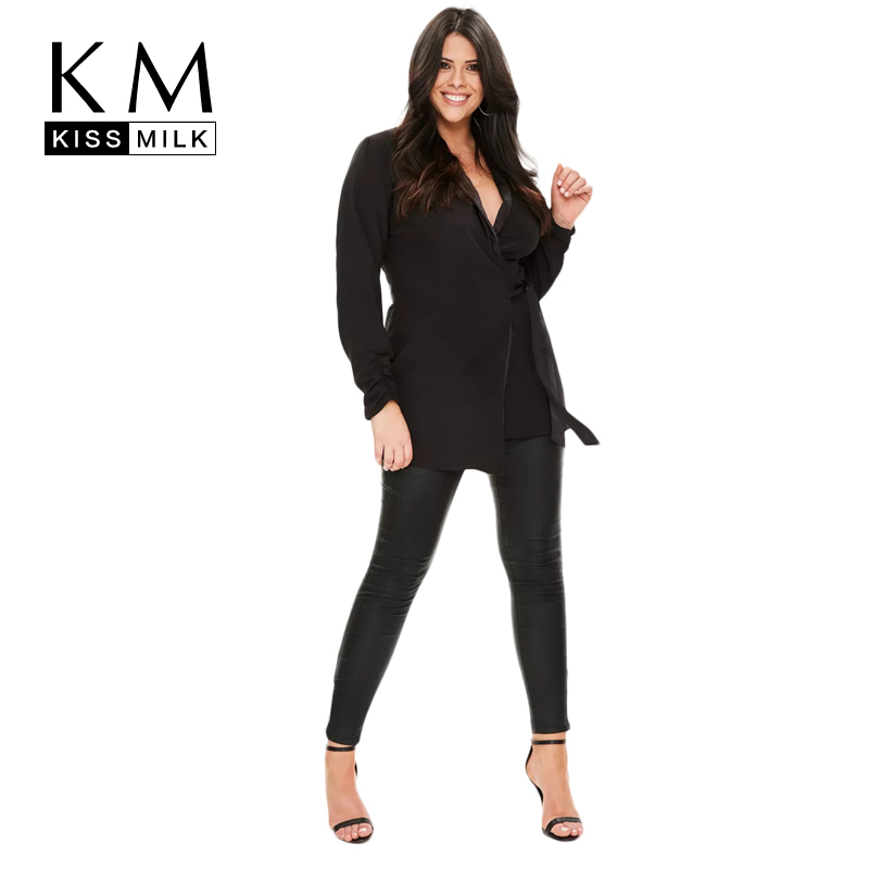 Kissmilk Cộng Với Kích Thước 2018 Phụ Nữ Rắn V-Cổ Văn Phòng Lady Blouse Kích Thước Lớn Nữ Sash Sexy Áo Over Kích Thước Đen Tops