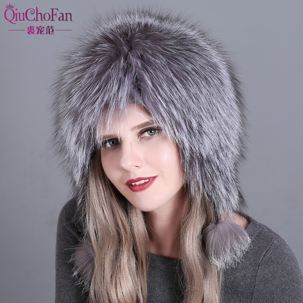 Real Fox Fur Pompom Hats Female   Beanies   Hat Natural Fox Fur Knitted New   Skullies     Beanies   for Women's Cap Winter Hats
