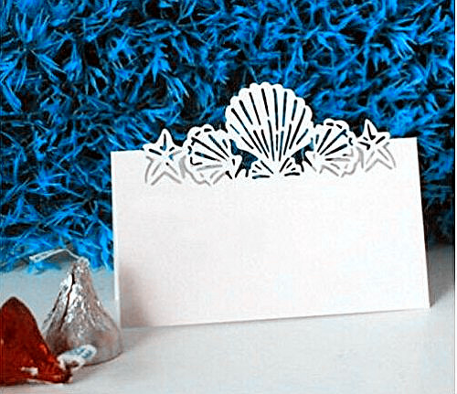 100pack White Beach Themed Wedding Place Card Laser Cut Sea Shell