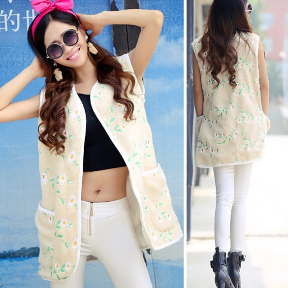 New Women's Sexy Style High Quality Flower Print Sleeveless Warm Vest Coat Waistcoat