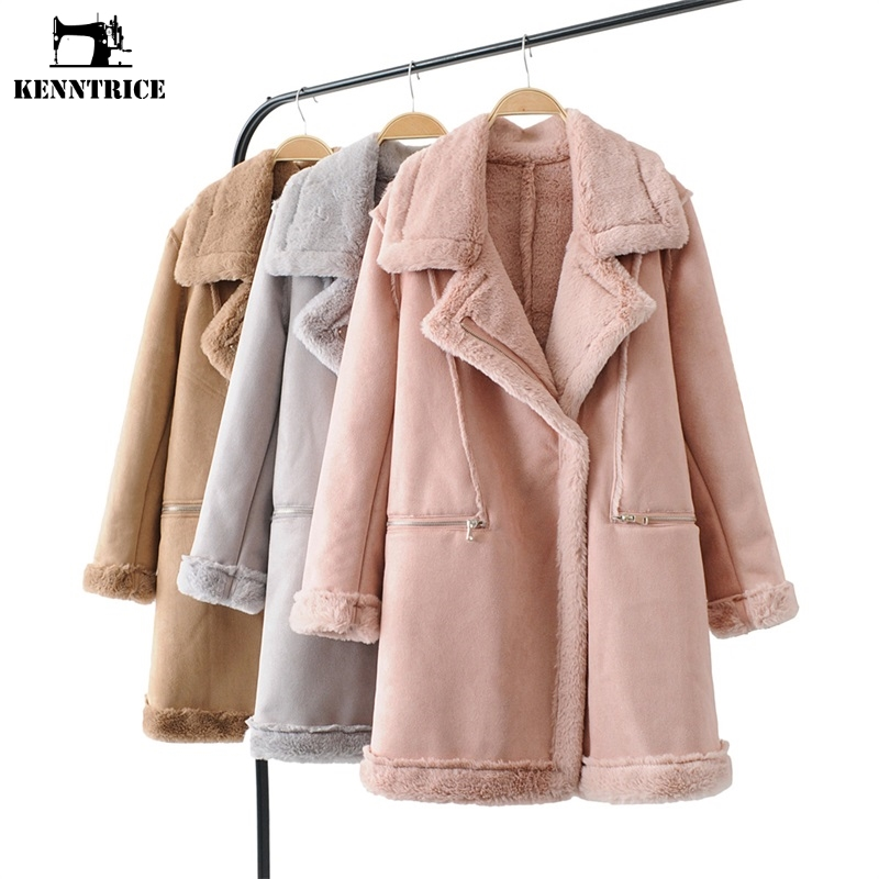 Laine Hiver Gray Coupe Long pink Femme Femmes Cuir Automne Manteau Kenntrice Veste Daim En D'agneau khaki vent Chaude 0w7H7q5Z