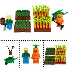 DIY City Plant Food Carrots Model Building Kit Brick Toys Radish Farmer Figure  Parts Accessories Blocks Children