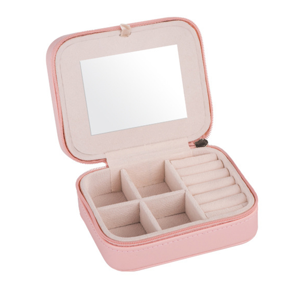 Portable Jewelry Box Earring Holder Ring Travel Zipper Organizer With Mirror Storage Women Stud Mini