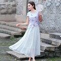 Mulheres do vintage Borboleta Bordado Patchwork Chiffon Maxi Vestido de Verão de Moda de Nova Magro Vestido Casual Plus Size