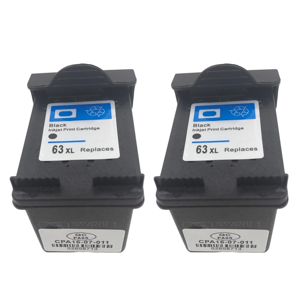 2 יחידות עבור HP 63 שחור דיו מחסנית 63XL עבור HP Deskjet 2130 3630 1110
