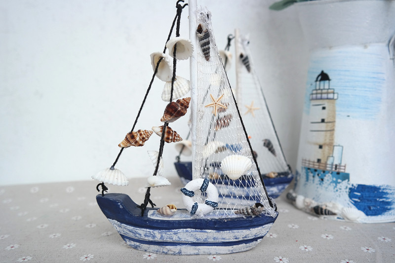 Wood Boat Craft Mediterranean Style Wooden Ship Model Diy Wedding