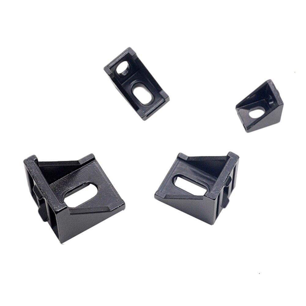 5pcs/10pcs 2020 Corner Bracket Fitting Black Angle Aluminum Connector 2028 3030 4040 For Industrial Aluminum Profile