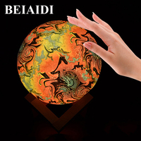 BEIAIDI Remote Control 3D Moon Lamp 15CM Colorful Change Ghost Lamp Halloween Christamas Creative Gift Bedside Moon Table Lamp