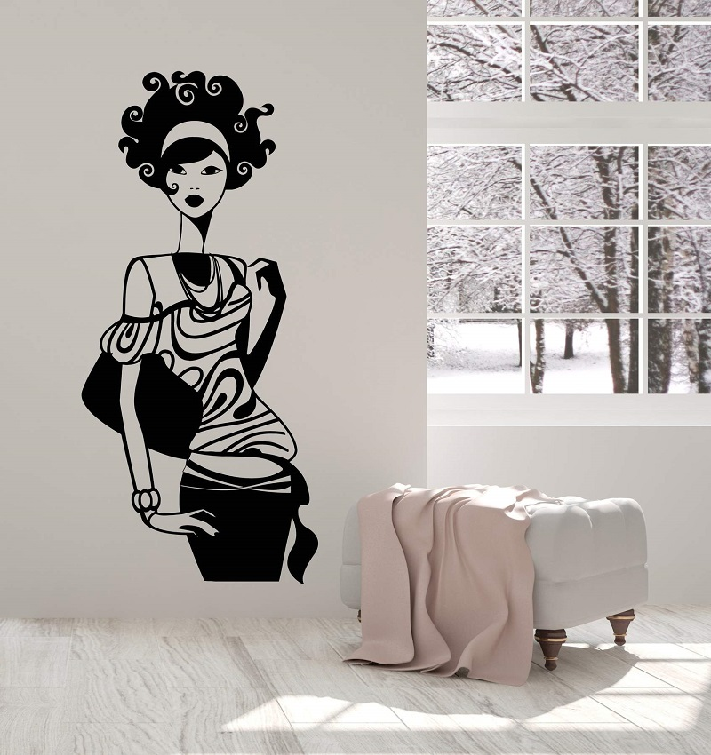 Vinyl Wall Decal Fashion Super Model Girl In Dress Lady Woman Stickers 2LR11
