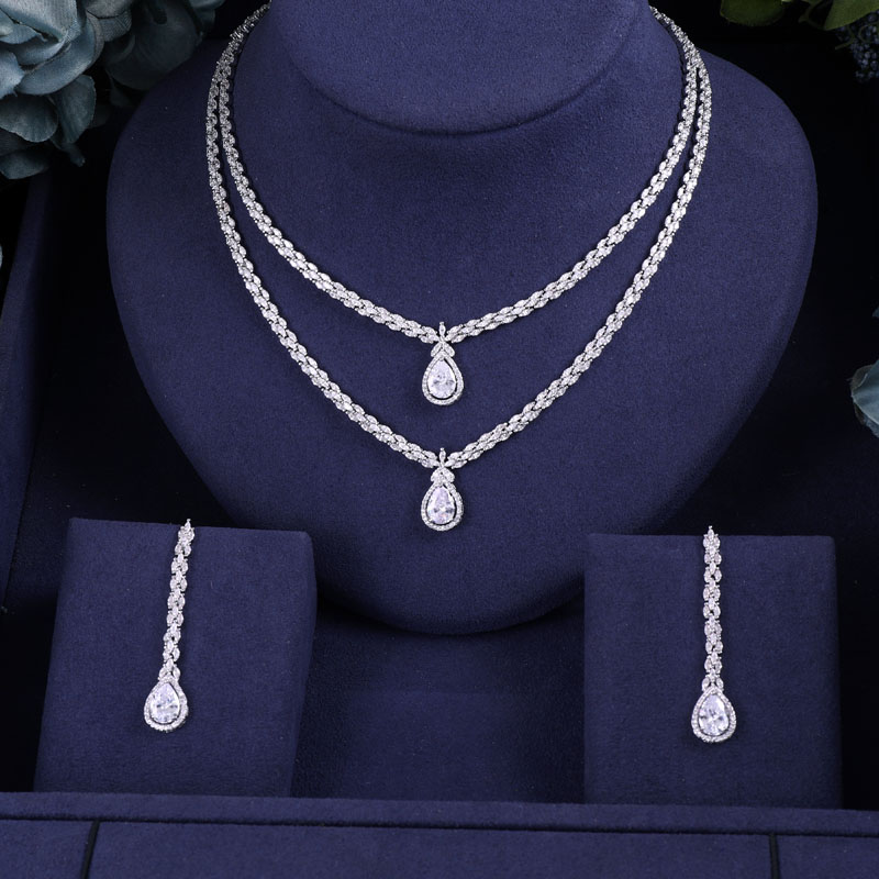 Janekelly Full-Jewelry-Sets Zirconia Crystal Dubai Bridal Party Nigeria Women 2pcs