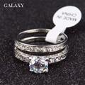 Galaxy amantes de la moda anillo de compromiso real blanco puro chapado en oro cz Anillos de bodas Para Los Hombres y Las Mujeres de Talla 7 8 9 10 YH417
