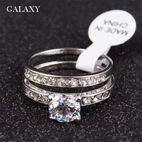 GALAXY Fashion Lovers Engagement Ring Real 18K White Gold Plated CZ Diamond Wedding Rings For Men