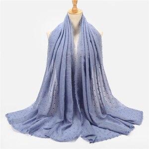 Image 5 - New Women Solid Color hijab Scarf Polka Dot Shawls Muslim Scarves Viscose Wraps Islamic Headband Scarves Muslim Hijabs