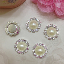 30pcs/lot 15MM Flatback Round Metal Pearl Rhinestone Button Wedding Embellishment Flower Center Hair Bow DIY Accessories