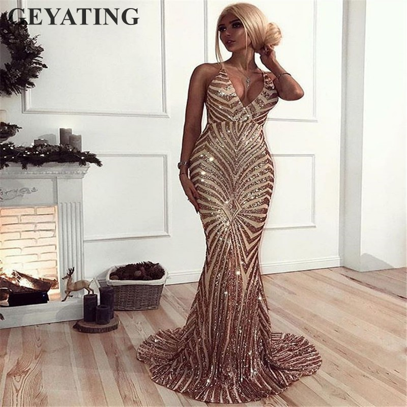 Sexy Rose Gold Sequin Backless Prom Dresses Mermaid 2019 Long Spaghetti Straps Black Maxi Women Formal Evening Party Dress Cheap gown