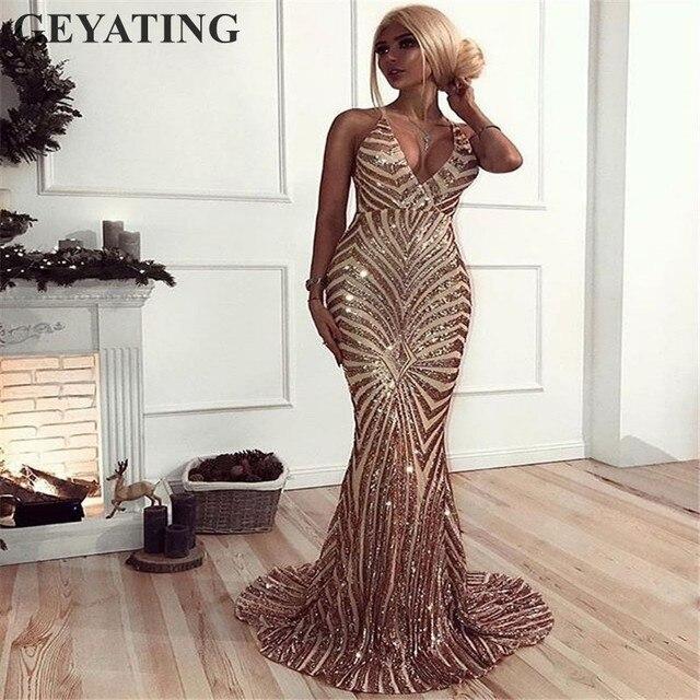 Sexy Rosa lentejuelas de oro sin espalda vestidos de baile de 2019 de largo negro correas espaguetis mujeres Maxi Formal vestido de fiesta noche barato
