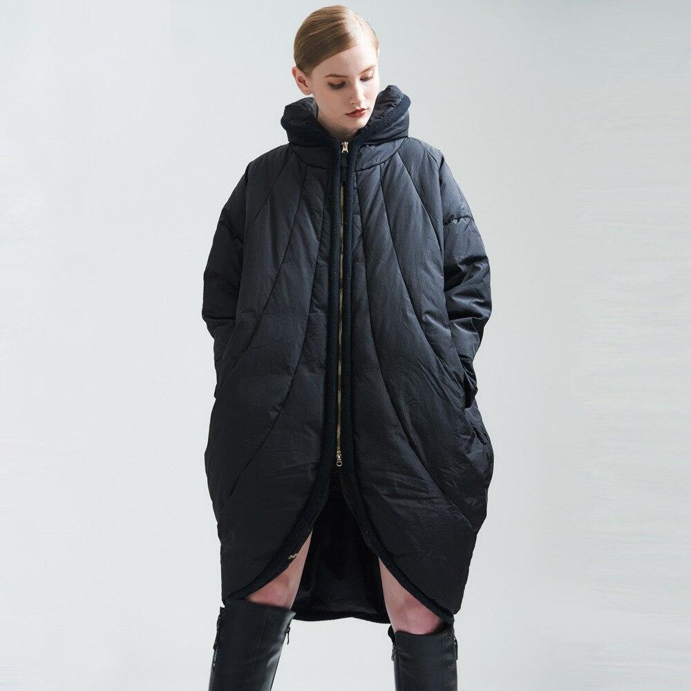 Solide Manteau Taille Automne Longue Parka Fit Hiver 2017 Femmes Lâche Veste Fc17wsw24 Plus Black Épaississement Bat Wing La D'hiver nzxppO