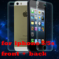 2 pcs/lot Front + Back Tempered Glass for iPhone 5s 5 Anti-scratch 0.25D Arc Edge Screen Protector Film for iphone 5s glass