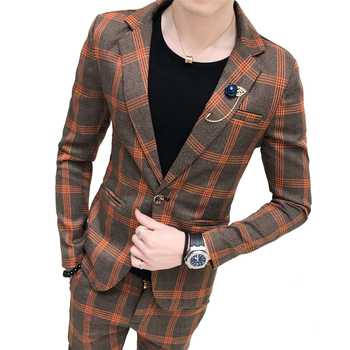 Plaid Mens Suits Blazers Formal Vintage Suits With Pants Two-piece set British Male Tuxedos Slim Fit Business Casual Office Wear