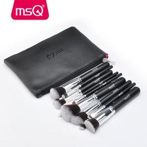 Image 2 - MSQ Juego de brochas de maquillaje, 15 uds, Pro, base, sombra de ojos, colorete, Kit de brochas de maquillaje, pelo sintético de alta calidad con Funda de cuero PU