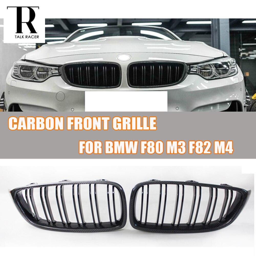 M3 M4 En Fiber De Carbone 2 Sel Style Avant Rein Grill Grille pour BMW F80 M3 F82 F83 M4 & F32 F33 F36 4 Série 2012-2017