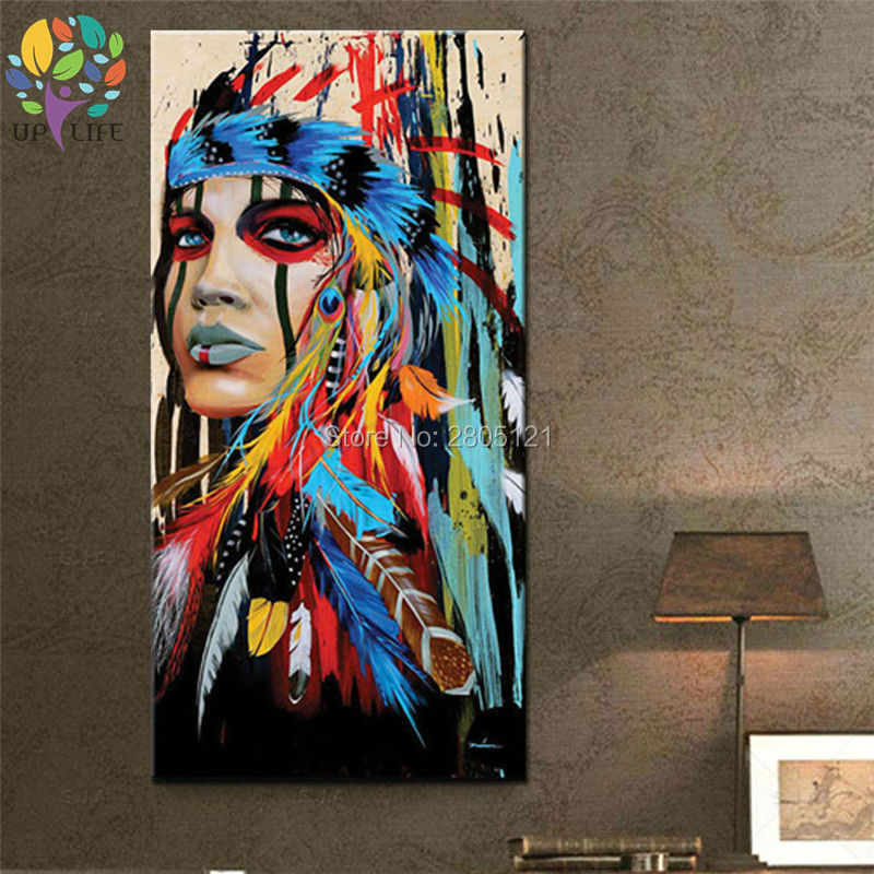 100% pictură în ulei american nativ american idian pictură în - Decoratiune interioara - Fotografie 2