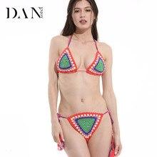 DANENJOY Sexy Crochet Bikini Set Swimwear Crochet Halter Crop Top Gypsy Strappy Bikinis 2017 Cheeky Bottom Multicolor Handmade
