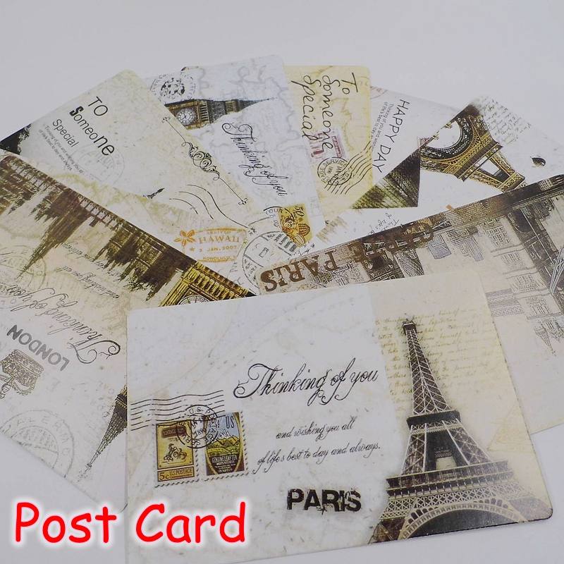 (15 Sets/Lot) 1Set=9 Pcs Classic School Stationery Vintage Postcards Set / Greeting Post Gift Cards Office Memo Pad FRS-112