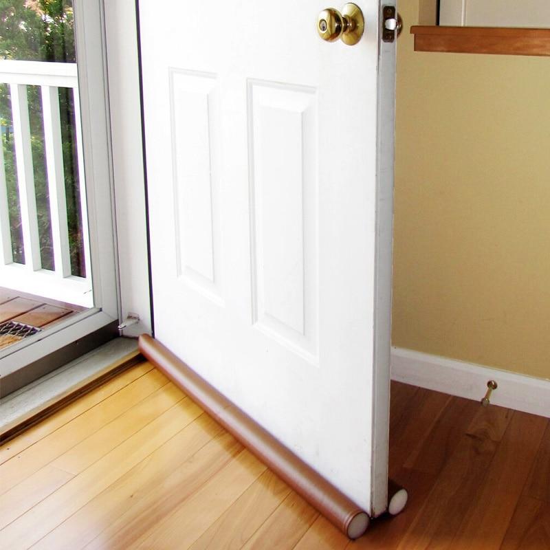 Upspirit  Brown Guard Stopper Twin Door Draft Dodger  Energy Saving Protector Window Protector Doorstop Decor Useful bead