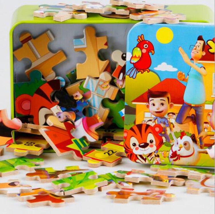 Мультфильм деревянные пазлы игрушки раннего детства Развивающие игрушки для детей Детские игрушки железный ящик посылка 100 шт.