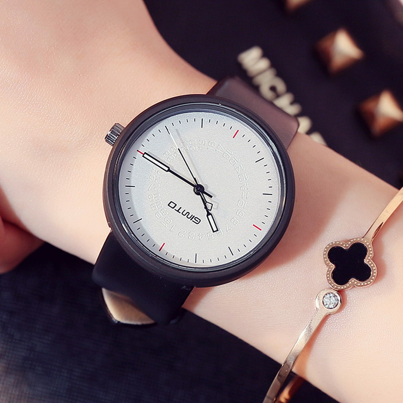 NEW GIMTO Creative Watch Woman Leather Quartz Fashion Casual Women Watches Female Ladies Vintage Wristwatch Montre Femme Relogio miler vintage fashion watch women retro leather strap world map casual quartz wristwatch ladies creative clock relogio feminino
